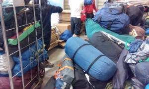 Warehouse, donated tents go out to the jungle very quickly